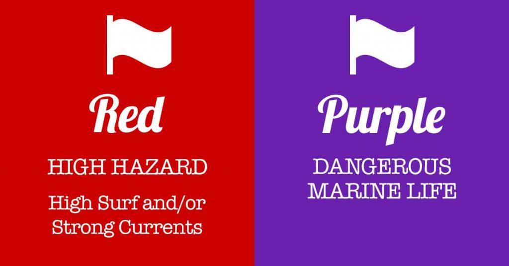 Panama City Beach Flags Single Red Flag With Purple Flag