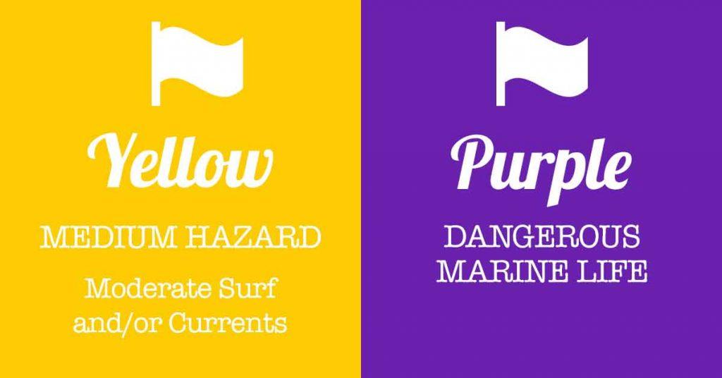 PanamaCity Beach Flags Yellow Flag With Purple Flag