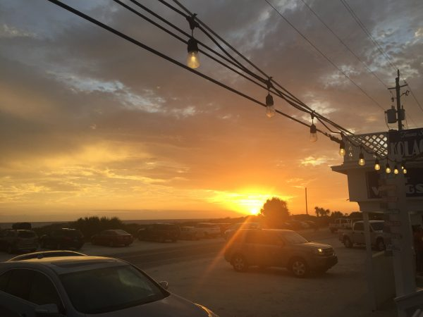 Sunset View from outdoor seating at Thomas Donuts & Snack Shop