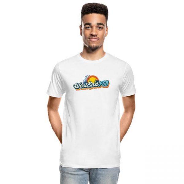 West-End-PCB-Logo-Mens-Premium-Organic-Tshirt-White