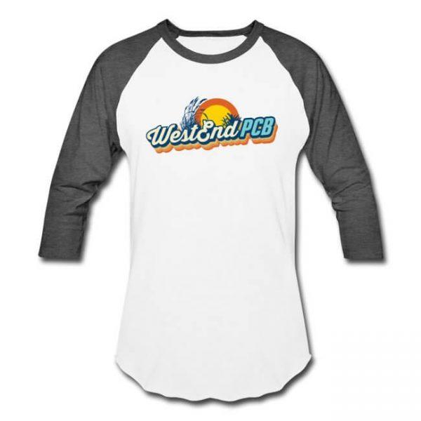 West-End-PCB-Logo-Unisex-Baseball-Shirt-White-Charcoal