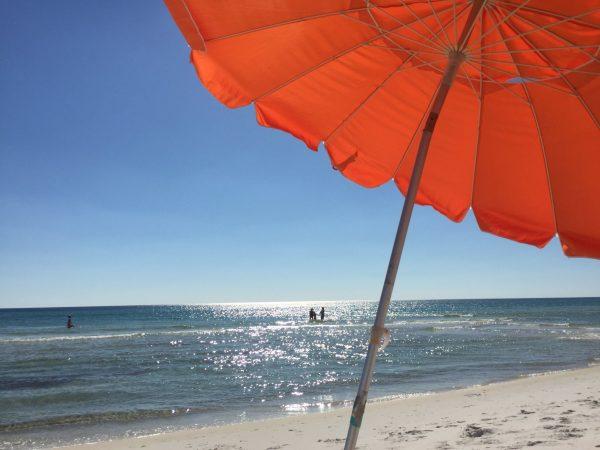 West End PCB Beach with Orange Umbrella