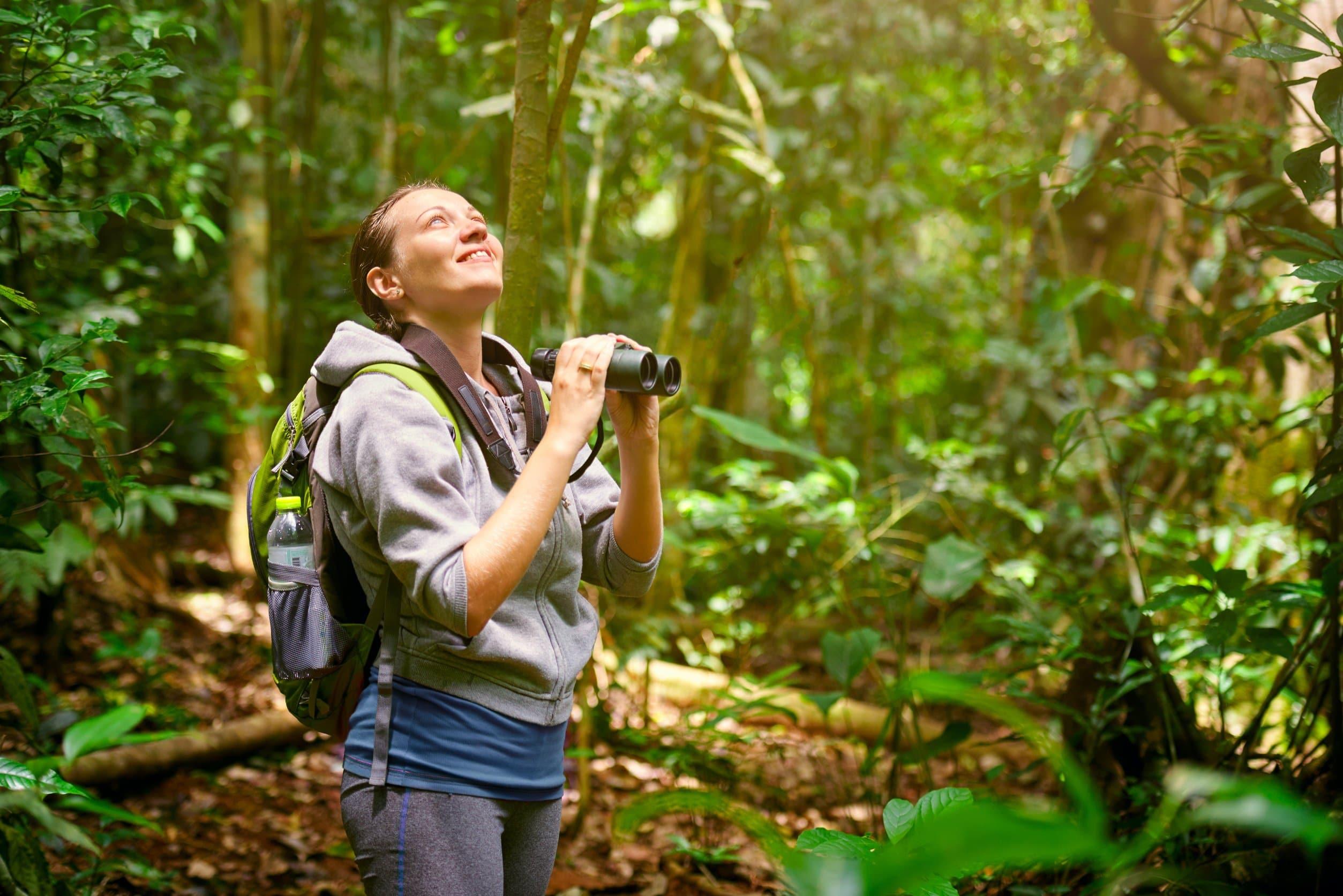 Hiker watching through binoculars wild birds in nature