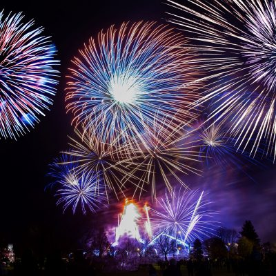 colorful fireworks on dark sky background.